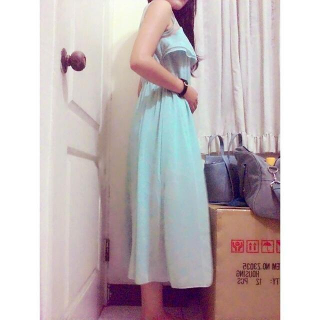 微性感甜美蒂芬妮藍(綠) 連身長洋 長裙((有內襯))