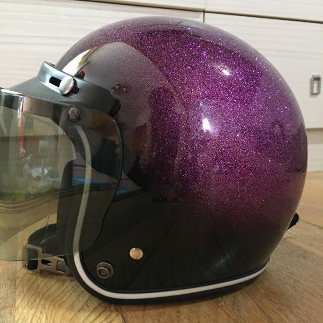 漸層 紫色 金蔥 安全帽 4/3罩