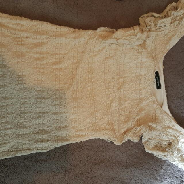 Beige/creme Body Con Dress
