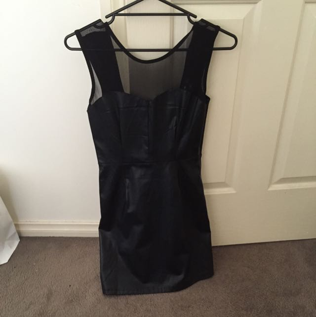 black faux leather body con dress