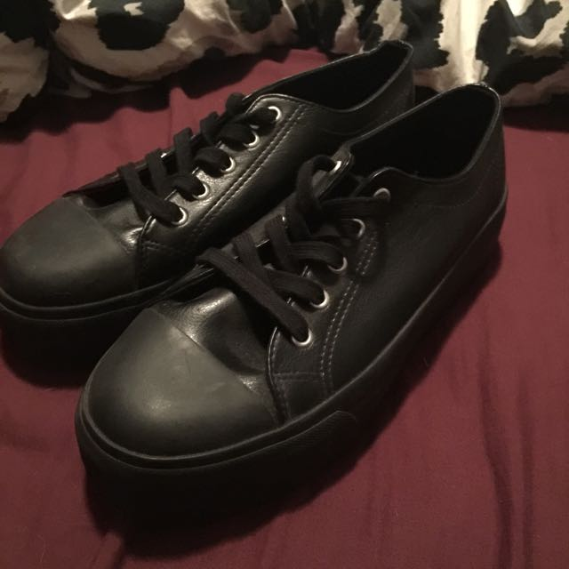 Black Leather Platforms