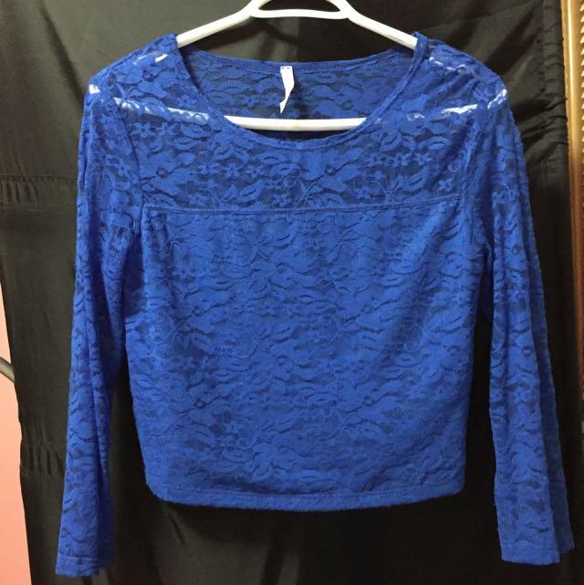 Blue lace crop top