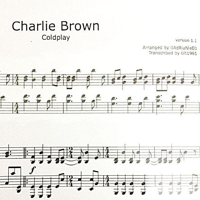 Charlie Brown By Coldplay Piano Sheet Music
