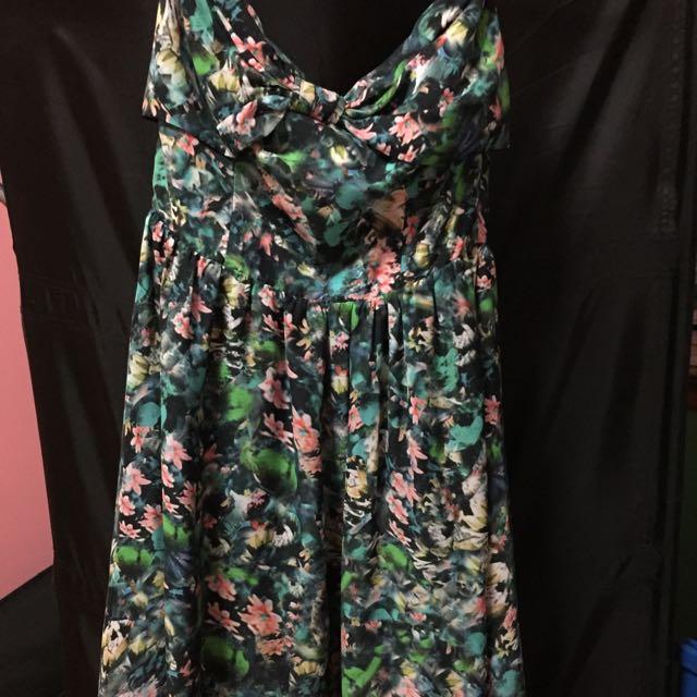 Floral bow formal dress