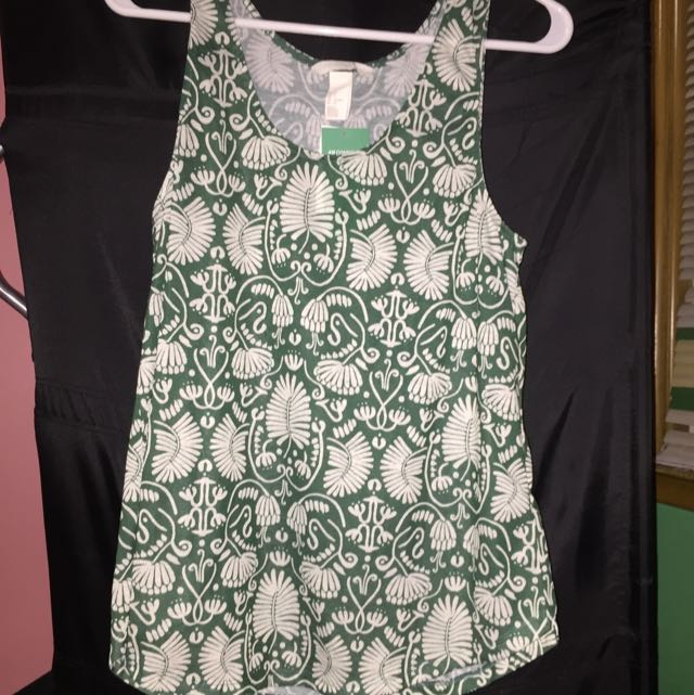 Floral Green tank top