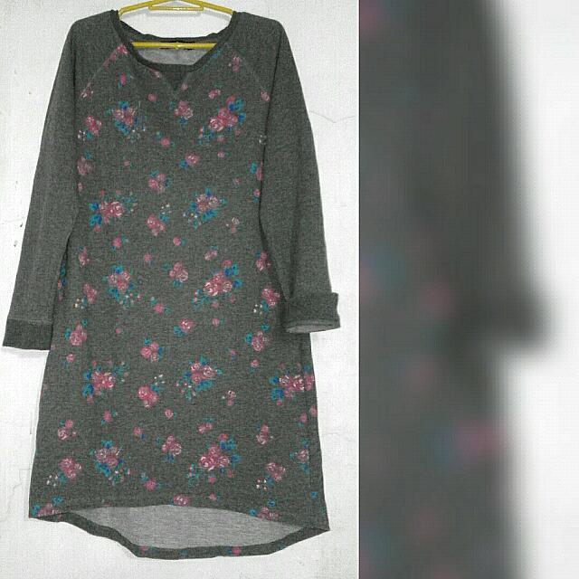 Gray Floral Dress
