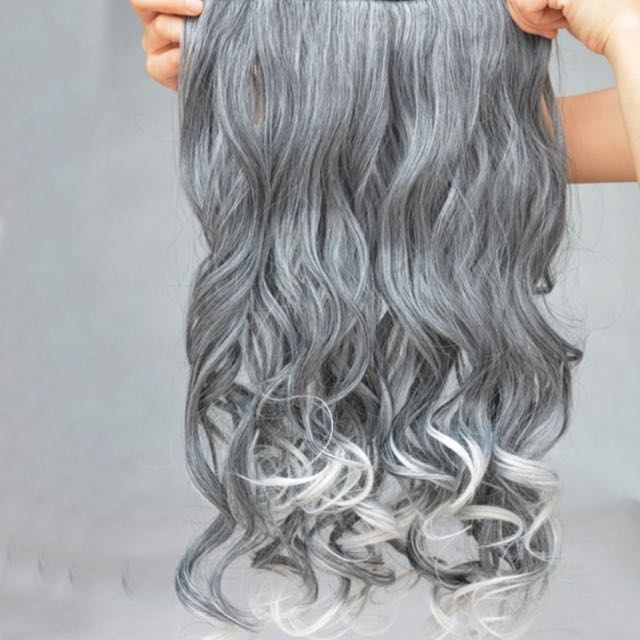 Grey Curly Clip In Hair Extensions