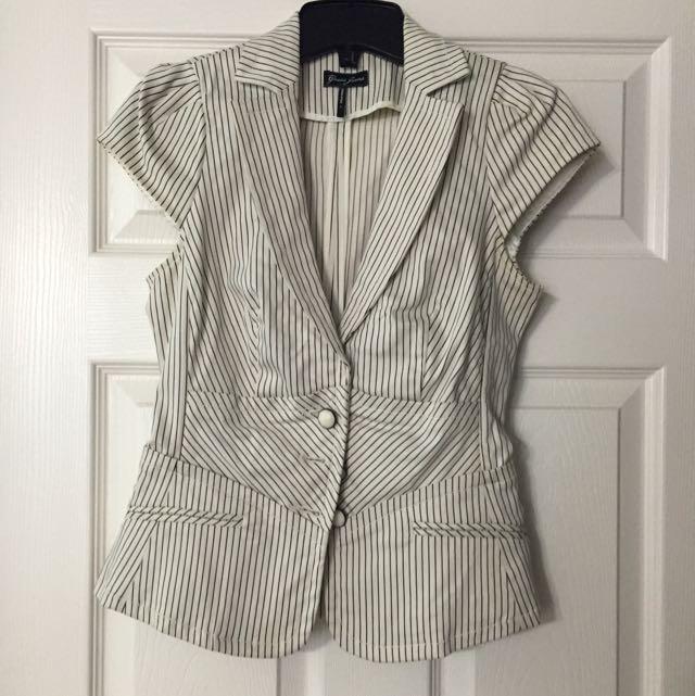 Guess Pin Stripe Short Sleeve Blazer
