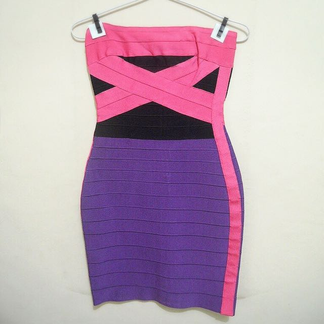 Herve Leger Pink Purple Dress