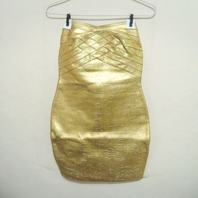 Herve Leger Tube Gold Dress