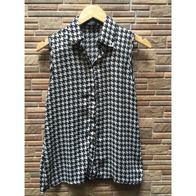 Houndstooth Pattern Sleeveless Collared Shirt