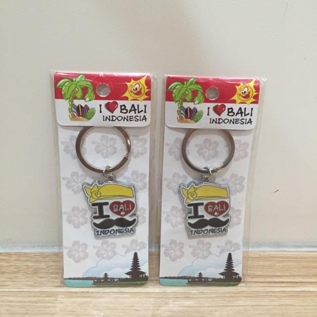 (含郵)I Love Bali 鬍子圖案鑰匙圈(1對)