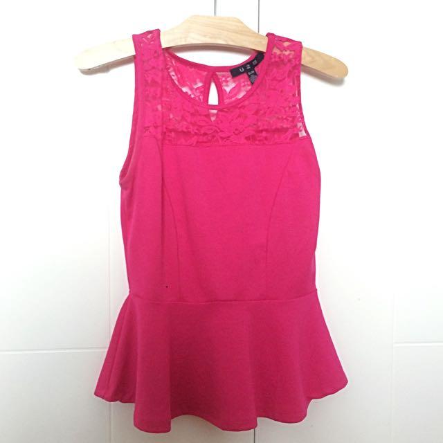 Lace Pink Peplum Top