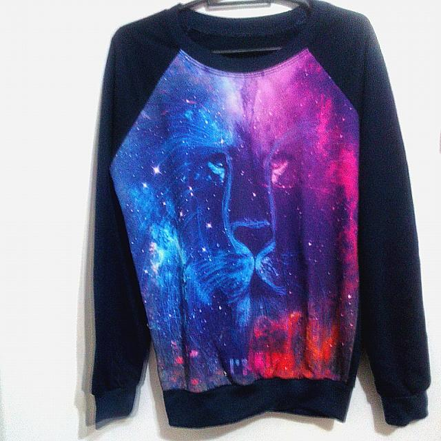 Navy Blue Galaxy Print Pullover