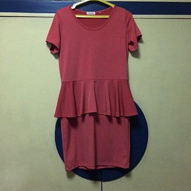 Orange Peplum Dress