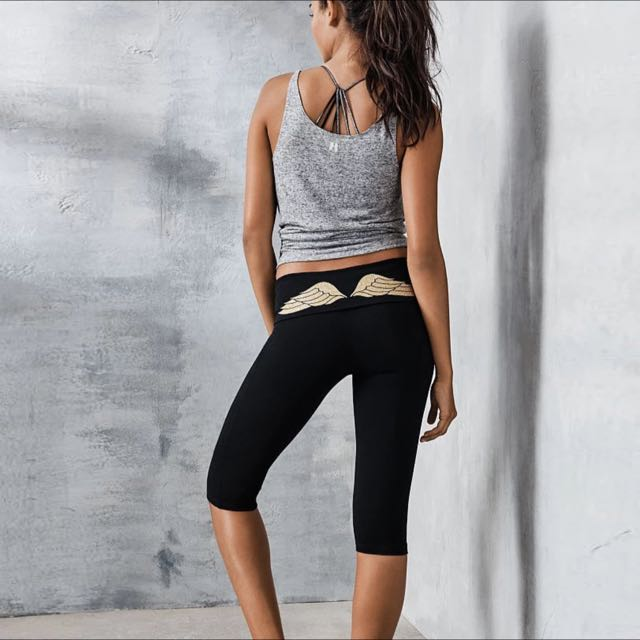 [PO YG01] Victoria's Secret Inspired Angel's Wings Yoga Sports Cropped Pants