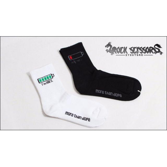 Rock scissors-韓國潮流街頭 80's街頭文化 復古百搭 超酷iphone電池 電量表 中筒襪/滑板襪