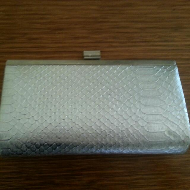 Silver Snakeskin Clutch With Chain