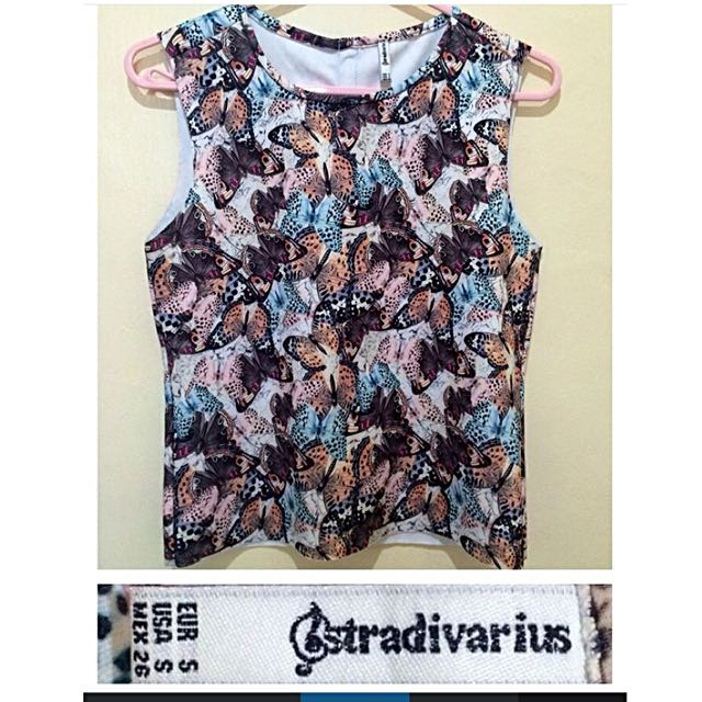 Stradivarius Butterfly Print Top