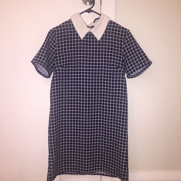 GRID PATTERN SHIFT DRESS SIZE S