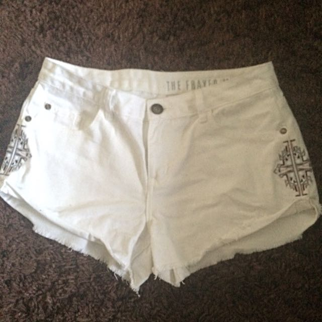 White Denim Frayed Shorts
