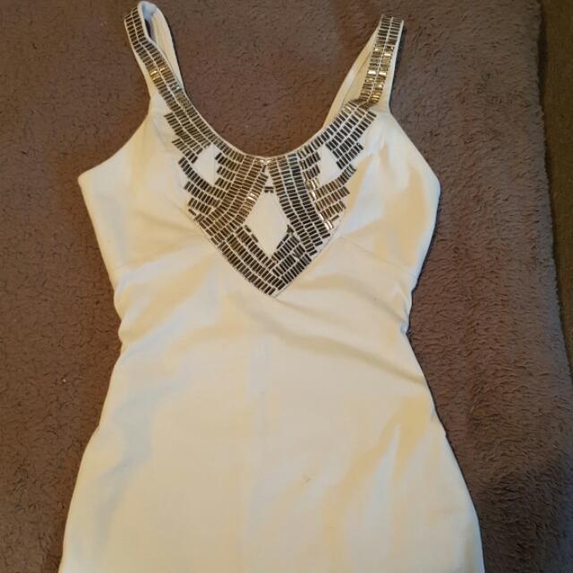 White Detailed Body Con Dress