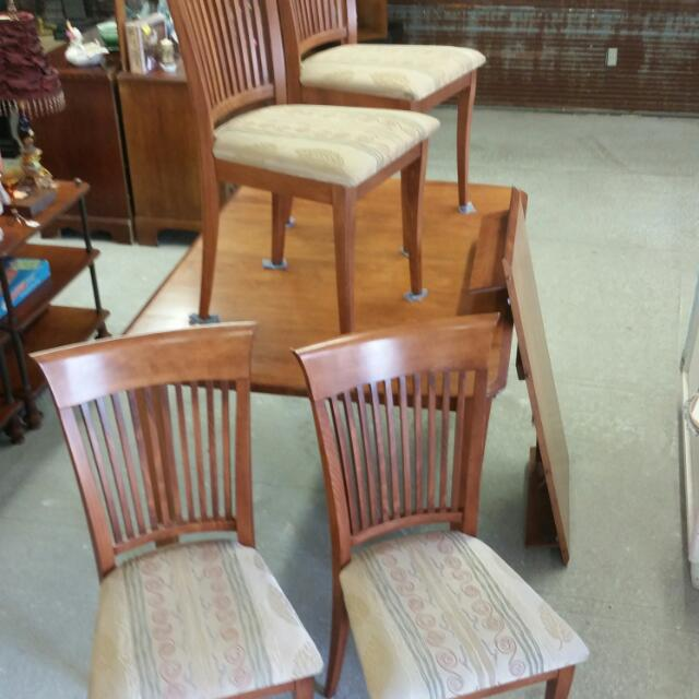 Wood Table & Four Wood Chairs