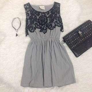 Bangkok Brand Lace Aplique Mini Dress