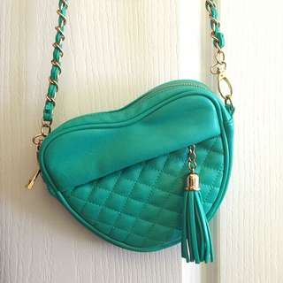 Teal Heart Shaped Purse