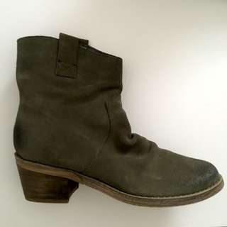 RESTRICTED - OLIVE SUEDE BOOTS
