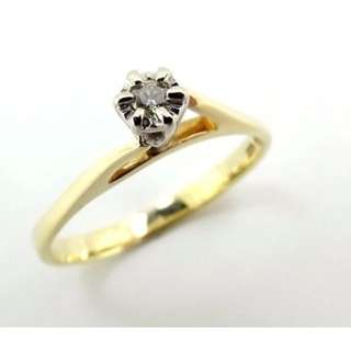 Genuine Solid 9ct Yellow Gold Diamond Solitaire Ring Size K