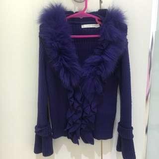 Girls Purple Fur Cardigan