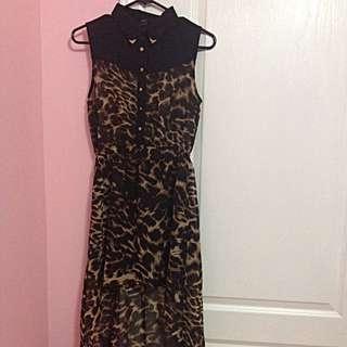 Cheetah Print High-low Dress With Collar