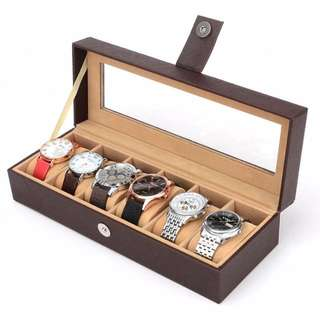 Watch box/case 6-slot storage, magnetic catch lock with inner velvet