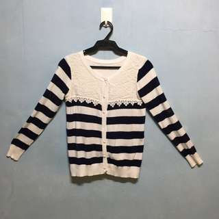 RESERVED Striped Button-down Cardigan