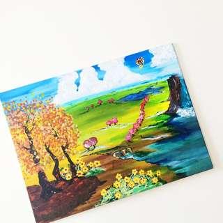 Cotton Candy/ Up Landscape Art