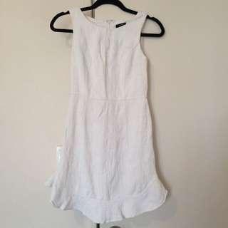 Zalora White Frill Trim Dress Sz XS
