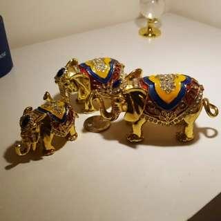 合金大象珠寶盒(大中小3隻一組,可掀式)