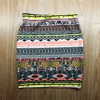 Bershka Printed Bodycon Skirt