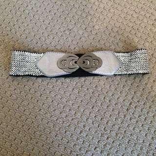 Silver Elastic Waist Belt