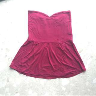 Burgundy/ Wine Peplum Tube Top