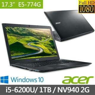 acer 17吋i5筆電 E5-774G-55PZ