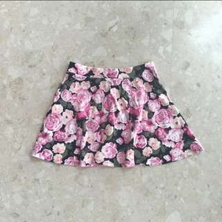 Rose Printed Skater Skirt