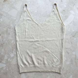 Knitted Cami Top In Creme