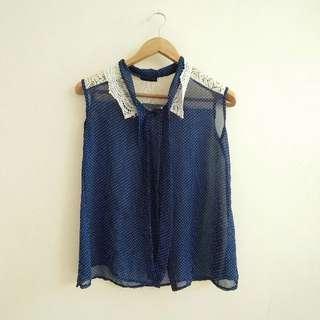 Sheer Blue Polka Dots sleeveless