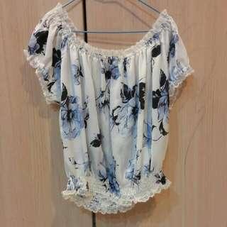 日百貨專櫃Coco Deal正品免運🎉白底水藍花朵短版縮腰質感上衣