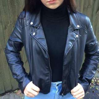 Vintage Vegan Leather Moto Style Jacket Grunge