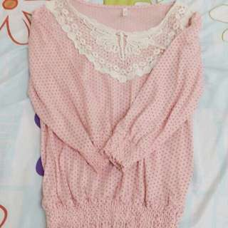 pink polka dot baby doll blouse