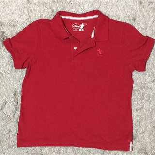 •Red polo shirt