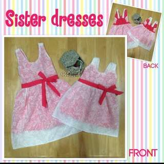 White Lace over Pink Sister Dresses